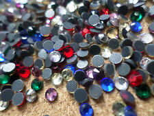 100 x Glass Hotfix Faceted Rhinestones - 4mm - Mixed Colour