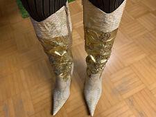 High Heels Stiefel Gold mit Pailletten Gr.38 9,5 cm Sammler