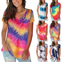Women Summer Tie Dye Tank T-Shirt Ladies Casual Short Sleeve Tee Tops Blouse LIU