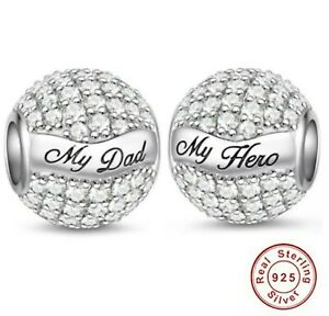 💖 My Dad My Hero Daddy Father Family Genuine 925 Sterling Silver Charm Bead 💖