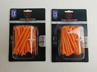 Zero Friction 2-3/4 Orange Tees 2 Packs Of 40 Golf Tees Per Pack 3 Prong New