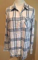 NWT Womens White Blue Plaid Long Sleeve Woolrich Top Small