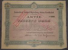 Zuckerfabrik Bahnhof Marienburg, Aktien-Gesellschaft 1923 1000 Mark