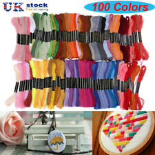 100 Colors 8M Embroidery Thread Hand Cross Stitch Floss Sewing Skeins Craft UK