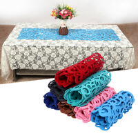 7 Colors Hollow Felt Tablecloth Runner Placemats Table Mats Household Decor Pads