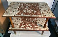 Vintage Mid Century Danish Modern 2 TIER Tile MOSAIC accent TABLE Earth Tones