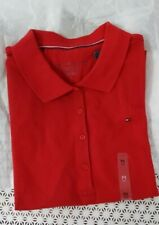 New Tommy Hifiger Women Short Sleeve Tee T-shirt Red Classic Fit Size M