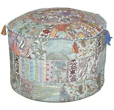 """18"""" Indien Khambadia Patchwork Pouf Cover Embroidery Round Ottoman Home Decor"""
