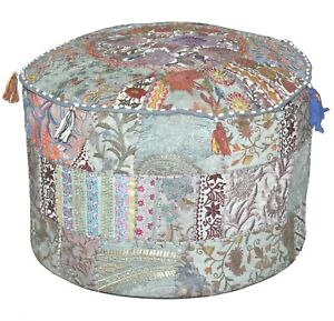 """18"""" Indian Khambadia Patchwork Pouf Cover Embroidery Round Ottoman Home Decor"""