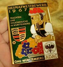 PLACCA ADAC GAU Wuerttemberg RALLY 1967 FORESTA NERA bollenhut Costume BADGE 92
