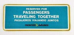 Vintage Frontier Airlines Occupied Reserved Card Passengers Traveling Together