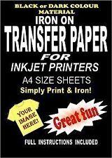 Inkjet Printable Iron On T Shirt  Fabric Transfer Paper For Dark Fabrics 10 A4