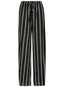Ladies Womens Trousers Palazzo Wide Leg Summer Loose Fit Black White Stripe NEW