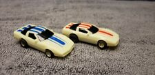 2  Vintage TYCO HO Glow in the Dark Corvette Race Set Cars Red and BLUE Stripe