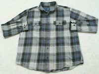 Faded Glory Gray Black Blue Pocket Dress Shirt Cotton Long Sleeve Large 42-44