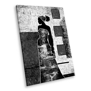 AB741 Cool Black White Abstract Portrait Canvas Picture Prints Small Wall Art