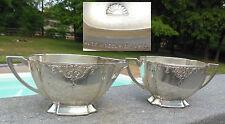 Occupied Japan CREAMER & SUGAR SET Silver Metal Decorative Vintage Vtg Serving