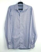 Van Laack Royal Men's Long Sleeve Button Up Blue Check Shirt Size 39