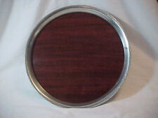 1960's mid century modern silverplate Edged  formica Center   round serving tray