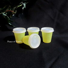 Tupperware NEW Set 4 Yellow Midget Midgets Small Containers Sheer Seals
