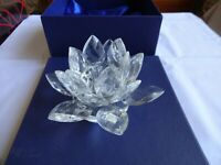 Vintage Crystal LARGE WATER LILY Candle Holder Height 8 cm Diameter 14 cm 476g