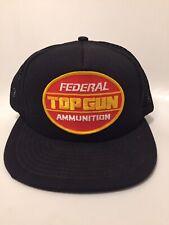 Vintage Federal Ammunition Top Gun Black Trucker Mesh Snapback Hat Cap Vtg