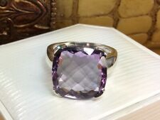 925 Sterling Silver Faceted Amethyst Cushion Cut Gemstone Ring Fine Jewelry