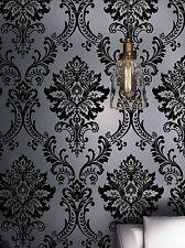 Classic Black Velvet Flocking Damask Wallpaper Textile Wallcovering
