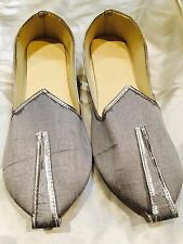10 Size Mens Indian Grooms Shoes Marjori Juti Jooti Bollywood Khussa Silver S6