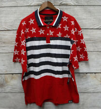 Switch Mens Size 4XL Red White & Blue American Flag Mesh Slim Fit Polo Shirt New