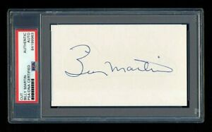 BILLY MARTIN SIGNED MINT CUT PSA/DNA SLABBED AUTOGRAPHED NEW YORK YANKEES 5X WSC