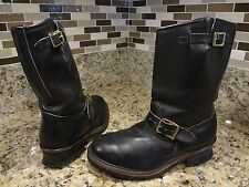 VTG USA Made Engineer Boots 7 EE Black Leather Motorcycle  Classic Biker
