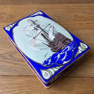 Ancienne Boite Peinte Confiserie Chocolat Marine Navire XIXè Old Candy Box 19thC