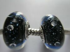 2 Authentic Pandora Silver Glass Bead Charm Midnight Blue Effervescence Clear CZ