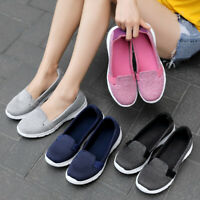 Women's Breathable Casual Loafer Flats Ladies Comfy Fabric Shoes Slip On US 5-10