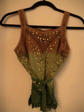 Brown Green Tank Top Gold Sparkle Sequin Home Small Dress Shirt Short Blouse Two
