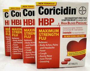 (4) Coricidin Hbp Maximum Strength Flu 20 TABLETS (80 TOTAL) EXP JUNE 2021