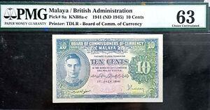 PMG 63 UNC 1941 Malaya & British Borneo 10 Cents Note (+FREE 1 B/note) #D8809