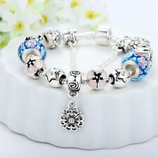 Girl European 925 Silver Plated Bead Charm Bracelet Crystal Women Bangle Jewelry
