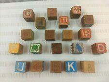"""Vintage 20 Antique Wooden Children's Building Blocks 1 1/4"""" X 1 1/4"""" Decor"""