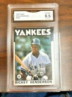 1986 TOPPS RICKEY HENDERSON CARD #500 - GRADED (6.5) EXCELLENT - NEAR MINT
