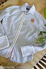 Huberman's * Klassisch Schöne Bluse * Gestreift * Besonderer Dreiknopf-Kragen 44
