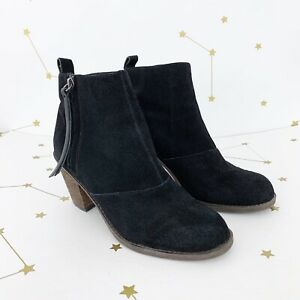 Dolce Vita Booties Size 8 Black Suede Ankle Boots Zipper Heeled Joust Shoes