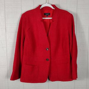 Talbots Wool Blend Jacket Blazer Red Petite Plus 18 W P