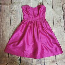 Diane Von Furstenberg Size 6 Hot Pink/Magenta Strapless Silk Dress Pockets
