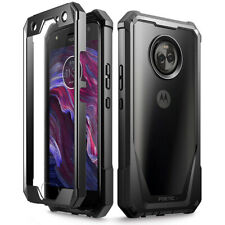 Moto X4 2018 Rugged Clear Case,Poetic® Hybrid Shockproof Bumper Cover Black
