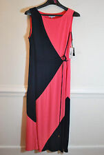 NWT Sandra Darren Pink & Black Lined Maxi Dress