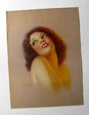 Vintage G.C. Orde Glamour Girl Pin Up Picture Red Head w/ Dreamy Blue Eyes