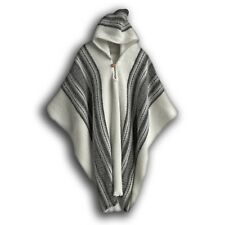 WHITE STRIPED LLAMA WOOL MENS HOODED PONCHO CAPE COAT JACKET CLOAK HANDWOVEN