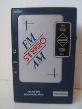 Vintage Silvano AM FM Stereo Headphone Blue Portable Radio N603 Tested Works